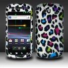 Hard Plastic Rubber Feel Design Case for Samsung Nexus S i920 - Rainbow Leopard