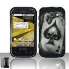 Hard Plastic Rubber Feel Design Case for Samsung Transform M920 - Ace of Spade Skull