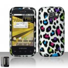 Hard Plastic Rubber Feel Design Case for Samsung Transform M920 - Rainbow Leopard