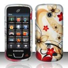 Hard Plastic Rubber Feel Design Case for Samsung StraightTalk T528 - Red and Gold Flowers