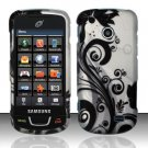 Hard Plastic Rubber Feel Design Case for Samsung StraightTalk T528 - Silver and Black Vines