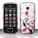 Hard Plastic Rubber Feel Design Case for Samsung StraightTalk T528 - Silver and Pink Flowers