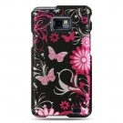 Hard Plastic Design Cover Case for Samsung Galaxy S II i9100 - Pink Butterfly