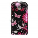 Hard Plastic Design Cover Case for Samsung Eternity II A597 - Pink Butterfly