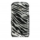 Hard Plastic Design Cover Case for Samsung Eternity II A597 - Silver and Black Zebra