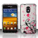Hard Plastic Rubber Feel Design Case for Samsung Galaxy S II Epic 4G Touch - Silver and Pink Flowers