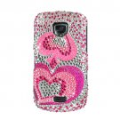 Hard Plastic Bling Rhinestone Design Case for Samsung Droid Charge i510/i520 - Pink Hearts