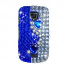 Hard Plastic Bling Rhinestone Design Case for Samsung Droid Charge i510/i520 - Silver & Blue Pearls