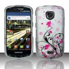 Hard Plastic Rubber Feel Design Case for Samsung Droid Charge i510/i520 - Silver and Pink Flowers