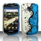 Hard Plastic Rubber Feel Design Case for Samsung Droid Charge i510/i520 - Silver and Blue Vines