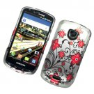 Hard Plastic Rubber Feel Design Case for Samsung Droid Charge i510/i520 - Elegance Red Flowers