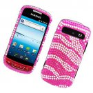 Hard Plastic Bling Rhinestone Design Case for Samsung Admire R720 - Hot Pink Zebra