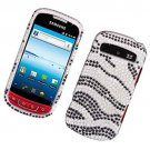 Hard Plastic Bling Rhinestone Design Case for Samsung Admire R720 - Silver and Black Zebra