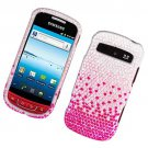 Hard Plastic Bling Rhinestone Design Case for Samsung Admire R720 - Silver Pink Watefall
