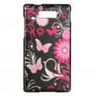 Hard Plastic Design Case for Motorola Triumph - Pink Butterfly