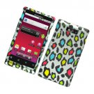 Hard Plastic Rubber Feel Design Case for Motorola Triumph - Rainbow Leopard