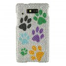 Hard Plastic Bling Rhinestone Design Case for Motorola Triumph - Multi Colors Dog Paws
