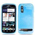 Crystal Gel Check Design Skin Case for Motorola Photon 4G - Blue