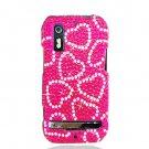 Hard Plastic Bling Rhinestone Design Case for Motorola Photon 4G - Hot Pink Hearts