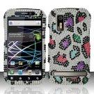 Hard Plastic Bling Rhinestone Design Case for Motorola Photon 4G - Rainbow Leopard