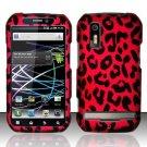 Hard Plastic Rubber Feel Design Case for Motorola Photon 4G - Hot Pink Leopard