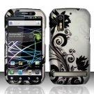Hard Plastic Rubber Feel Design Case for Motorola Photon 4G - Silver and Black Vines
