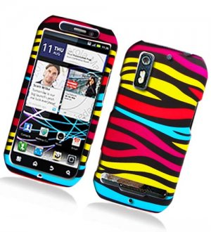 Hard Plastic Rubber Feel Design Case for Motorola Photon 4G - Abstract Zebra
