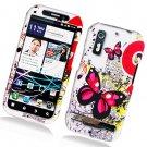 Hard Plastic Rubber Feel Design Case for Motorola Photon 4G - Pink Butterfly