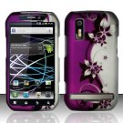 Hard Plastic Rubber Feel Design Case for Motorola Photon 4G - Silver and Purple Vines