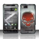 Hard Plastic Rubber Feel Design Case for Motorola Droid X MB810/X 2 MB870 - Red Skull