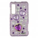 Hard Plastic Bling Rhinestone Design Case for Motorola Droid 3 - Purple Heart