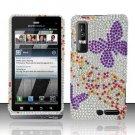 Hard Plastic Bling Rhinestone Design Case for Motorola Droid 3 - Purple Butterfly