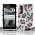 Hard Plastic Bling Rhinestone Design Case for Motorola Droid 3 - Rainbow Leopard