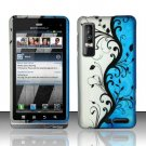 Hard Plastic Rubber Feel Design Case for Motorola Droid 3 - Silver and Blue Vines
