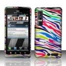 Hard Plastic Rubber Feel Design Case for Motorola Droid 3 - Rainbow Zebra