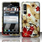 Hard Plastic Rubber Feel Design Case for Motorola Droid 3 - Red and Gold Flowers