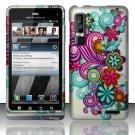 Hard Plastic Rubber Feel Design Case for Motorola Droid 3 - Purple and Blue Flowers