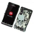 Hard Plastic Rubber Feel Design Case for Motorola Droid 3 - Black Skull and Angel