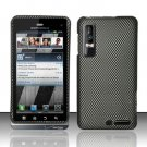 Hard Plastic Rubber Feel Design Case for Motorola Droid 3 - Carbon Fiber