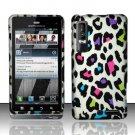 Hard Plastic Rubber Feel Design Case for Motorola Droid 3 - Rainbow Leopard
