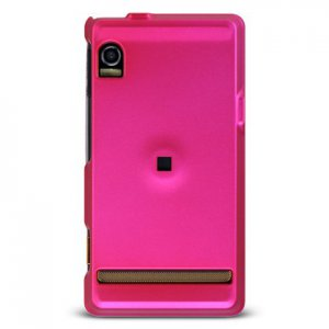 Hard Plastic Rubber Feel Case for Motorola Droid A855 - Hot Pink