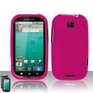 Hard Plastic Rubber Feel Case for Motorola Bravo MB520 - Hot Pink