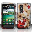Hard Plastic Rubber Feel Design Case for LG Thrill 4G - Red and Gold Flowers