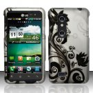 Hard Plastic Rubber Feel Design Case for LG Thrill 4G - Silver and Black Vines