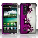 Hard Plastic Rubber Feel Design Case for LG Thrill 4G - Silver and Purple Vines