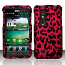 Hard Plastic Rubber Feel Design Case for LG Thrill 4G - Hot Pink Leopard