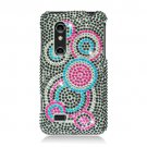 Hard Plastic Bling Rhinestone Design Case for LG Thrill 4G - Colorful Circles