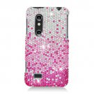 Hard Plastic Bling Rhinestone Design Case for LG Thrill 4G - Silver and Pink Waterfall