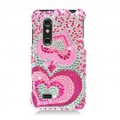 Hard Plastic Bling Rhinestone Design Case for LG Thrill 4G - Pink Hearts