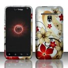 Hard Plastic Rubber Feel Design Case for LG Revolution 4G VS910 - Red and Gold Flowers